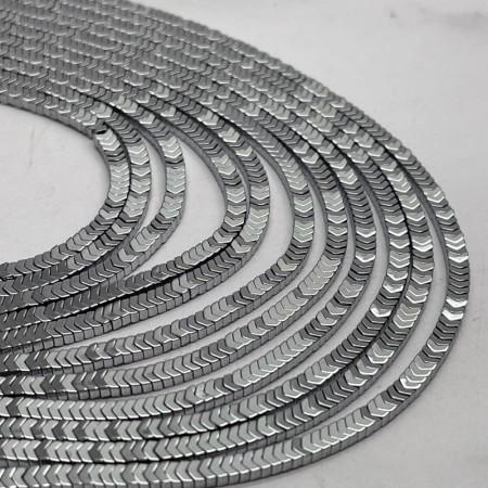 Каменные бусины, Гематит, серебро, размер 3х1 мм, нить 38 см