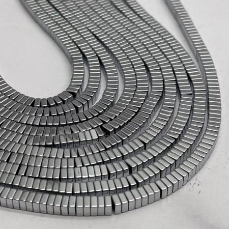Каменные бусины, Гематит, серебро, квадрат, размер 4х1,7 мм, нить 38 см
