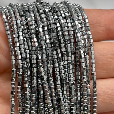 Каменные бусины, Гематит, серебро, шайба, размер 2х2 мм, нить 38 см