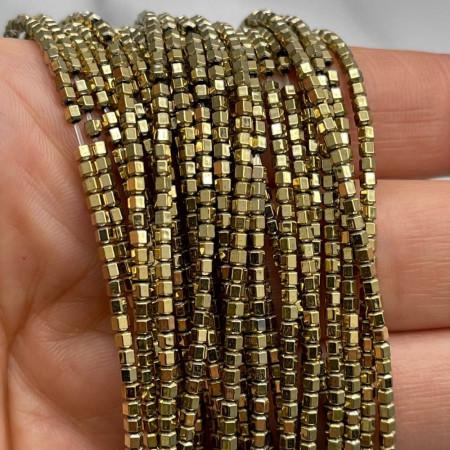Каменные бусины, Гематит, золото, шайба, размер 2х2 мм, нить 38 см