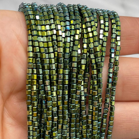 Каменные бусины, Гематит, зеленый, шайба, размер 2х2 мм, нить 38 см
