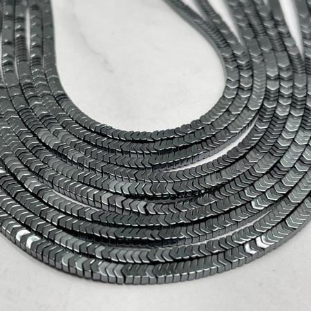 Каменные бусины, Гематит, темное серебро, размер 3х1 мм, нить 38 см
