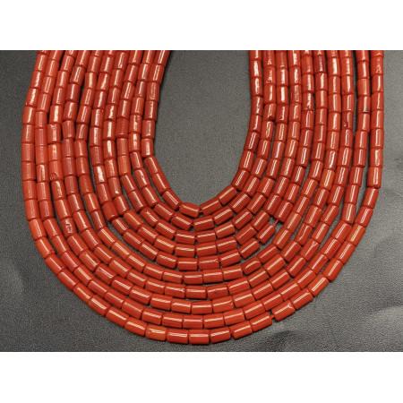 Каменные бусины, Коралл, оранжевый, трубочки, 5х3 мм, длина нити 38 см