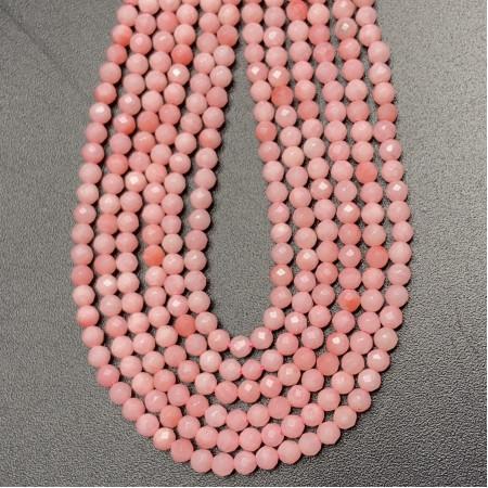 Каменные бусины, Коралл, розовый, шарик огранка, 2 мм, нить 38 см