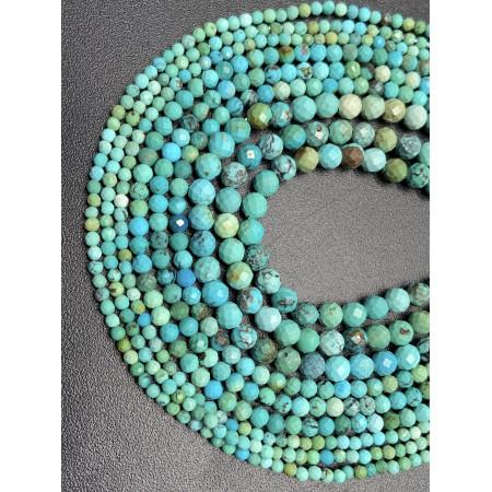 Каменные бусины, Бирюза, Люкс, шарик, огранка, 2 мм, длина нити 38 см