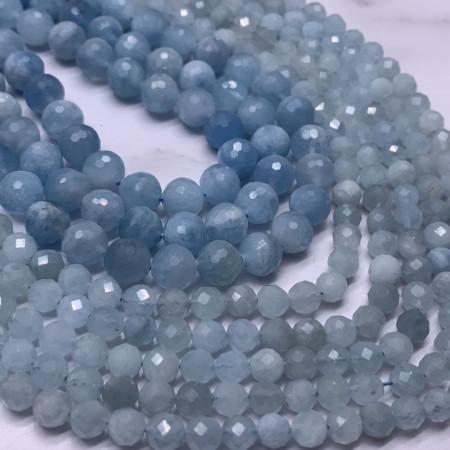 Каменные бусины, Аквамарин, Голубой берилл, люкс, шарик огранка, 5,5 мм, длина нити 38 см