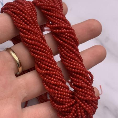 Каменные бусины, Коралл, красный, тонированный, люкс, шарик гладкий, 2 мм, длина нити 38 см