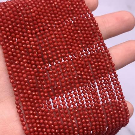 Каменные бусины, Коралл, красный, тонированный, шарик 2 мм, ювелирная огранка, нить 38 см