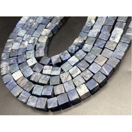 Каменные бусины, Дюмортьерит, кубик, 8х8 мм, длина нити 38 см