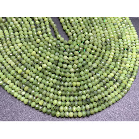 Каменные бусины, Канадский Нефрит, Люкс, рондель огранка, 4х3 мм, длина нити 38 см