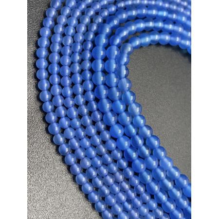 Каменные бусины, агат голубой, шарик гладкий, 3 мм, длина нити 38 см