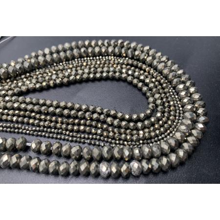 Каменные бусины, Пирит премиум, рондель огранка  6 х 4 мм, длина нити 38 см