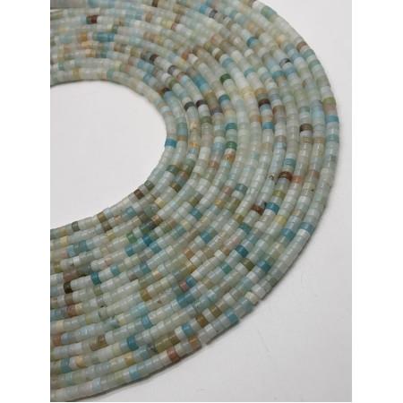 Каменные бусины, Амазонит, 4х2, длина нити 38 см