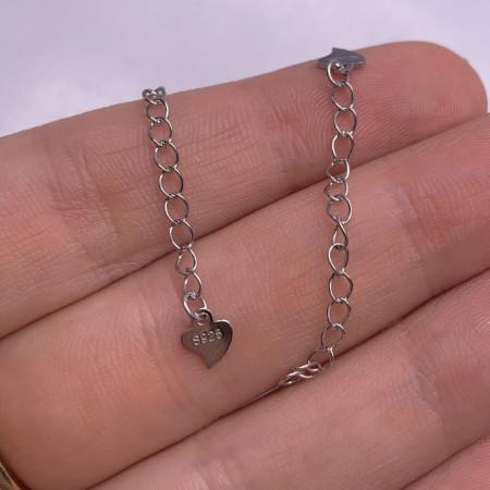 Цепочка, Удлинитель, с декоративной подвеской-сердечком, 5 мм, Серебро 925 пробы, длина 4,5 см