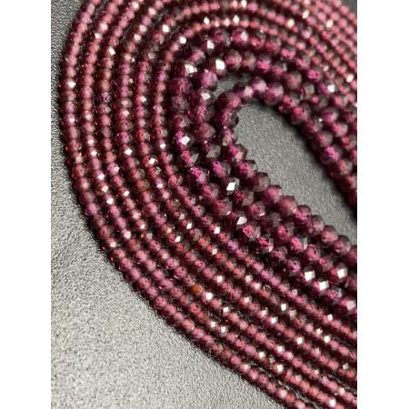 Каменные бусины, Гранат Альмандин, люкс, рондель огранка, 3х4 мм, длина нити 38 см