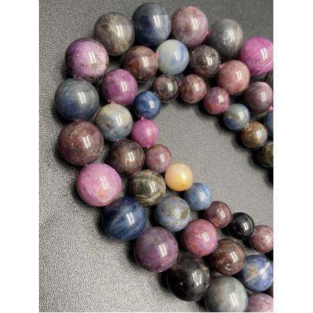 Каменные бусины, Сапфир Микс, люкс, шарик гладкий, 10 мм, длина нити 19 см