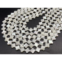 Каменные бусины, Перламутр, белый, клевер, 10х3 мм, длина нити 38 см