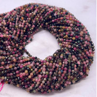 Каменные бусины, Турмалин, шарик огранка, 3 мм, длина нити 38 см