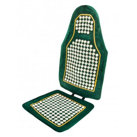 Чехол на сиденье зеленый с нефритовыми пластинами, без сетки