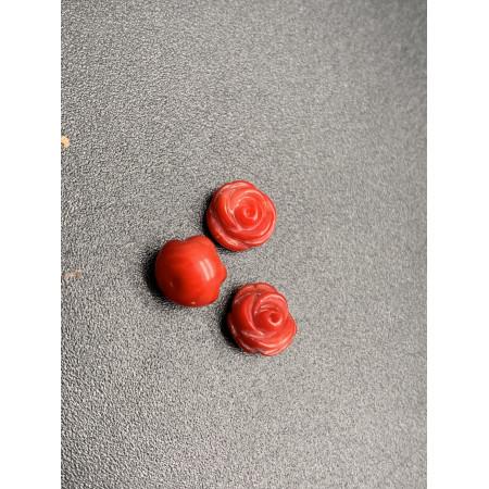 Каменная бусина, Коралл розочка, Полупросверленная, 8,5 мм, цена за шт