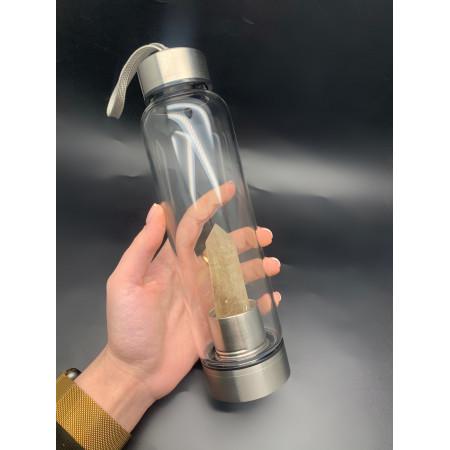 """Бутылка для воды, кристалл """"Раухтопаз, Дымчатый Кварц цвета Шампань"""", 700 мл, чехол и упаковка"""