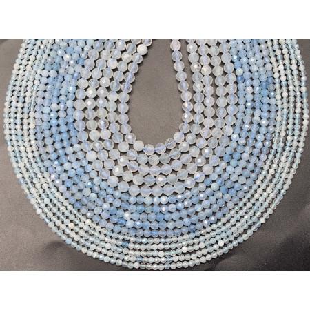 Каменные бусины, Аквамарин, Голубой берилл, шарик огранка, 1,8 мм, длина нити 38 см