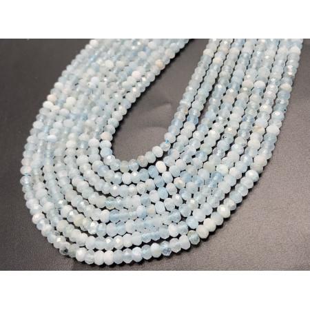 Каменные бусины, Аквамарин, Голубой берилл, рондель огранка, 2х3,5 мм, длина нити 38 см