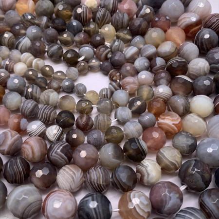 Каменные бусины, Агат, Ботсвана, шарик, ювелирная огранка, 10 мм, длина нити 38 см