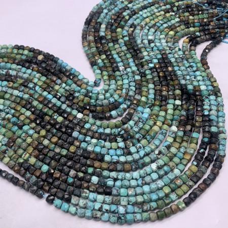 Каменные бусины, Африканская бирюза, кубик, огранка, 3,7х3,7 мм, длина нити 38 см