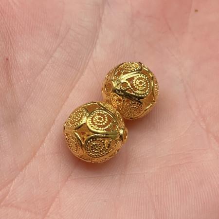 Разделительная бусина, латунь, родий, под золото, 12,5 мм, цена за шт