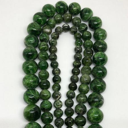 """Каменные бусины, Хромдиопсид  """"Якутский изумруд"""" (люкс), 48 бусин, шарик гладкий 8 мм, нить 40 см"""