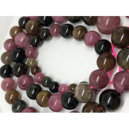 Каменные бусины, турмалин премиального качества (люкс), бусины разного размера, шарик гладкий 4-8 мм, нить 40 см