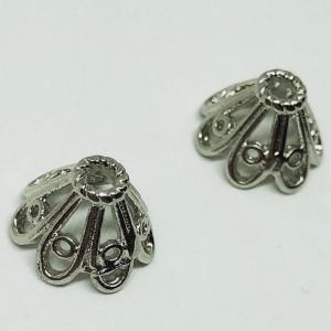 Концевик (колпачок, шапочка, обниматель, конус) ажурный, родий/латунь, под серебро, 6х10мм.