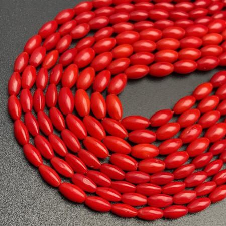 Каменные бусины, Коралл, Рис, красного цвета, 8х4 мм, длина нити 38 см