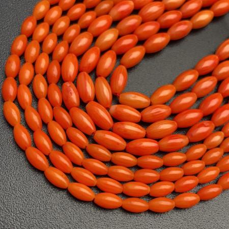 Каменные бусины, Коралл, Рис, оранжевого цвета, 6х3 мм, длина нити 38 см