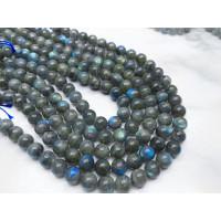 Каменные бусины, Лабрадор, с включениями, шарик гладкий, 10 мм, длина нити 38 см