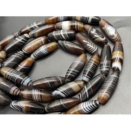 Каменные бусины, Дзи природные, Агат тонированный, коричневый с полосками, люкс, 29х10 мм, 13 штук на нити