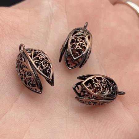 Концевик (колпачок, шапочка, обниматель) №15, латунь, медь с чернением, 19х10 мм, цена за шт.