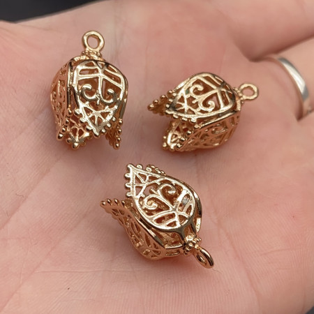 Концевик (колпачок, шапочка, обниматель) №18, родий/латунь, под золото, 20х11 мм, цена за шт.