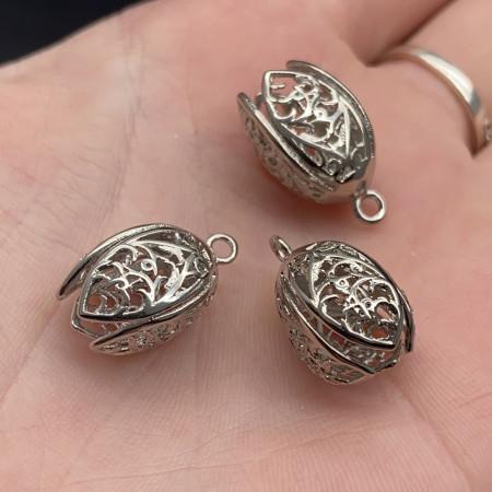 Концевик (колпачок, шапочка, обниматель) №20, родий/латунь, под серебро, 19х10 мм, цена за шт.