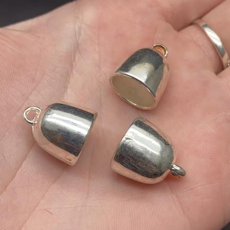 Концевик (колпачок, шапочка, обниматель) №25, родий/латунь, под серебро, 16х14 мм, цена за шт.