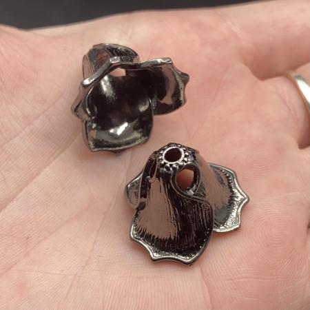 Концевик (колпачок, шапочка, обниматель) №31, родий/латунь, воронёная сталь, 20х15,5 мм, цена за шт.