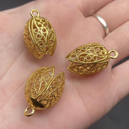 Концевик (колпачок, шапочка, обниматель) №33, родий/латунь, под золото, 25х15 мм, цена за шт.