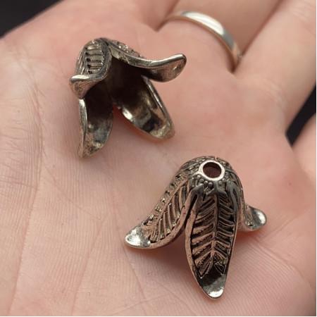 Концевик (колпачок, шапочка, обниматель) №38, родий/латунь, под серебро, 23х16 мм, цена за шт.