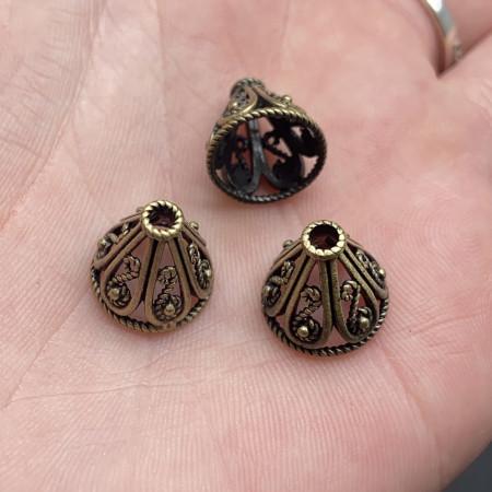 Концевик (колпачок, шапочка, обниматель) №44, латунь, бронза с чернением, 12х11 мм, цена за шт.
