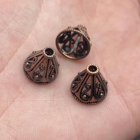 Концевик (колпачок, шапочка, обниматель) №45, латунь, медь с чернением, 12х11 мм, цена за шт.