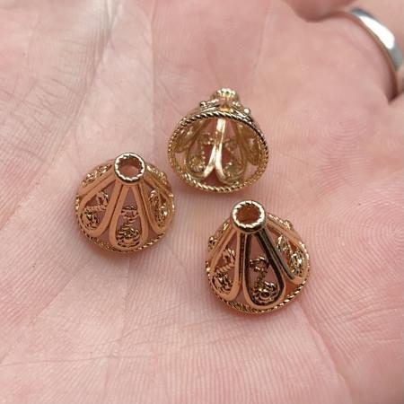 Концевик (колпачок, шапочка, обниматель) №46, родий/латунь, под золото, 12х11 мм, цена за шт.