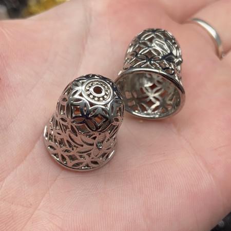 Концевик (колпачок, шапочка, обниматель) №51, родий/латунь, под серебро, 20х17,5 мм, цена за шт.