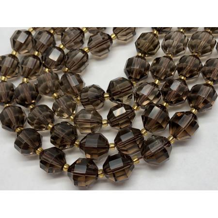Каменные бусины, Раухтопаз, Дымчатый Кварц, Люкс, ювелирная огранка, 12х10,5 мм, длина нити 38 см