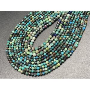 Каменные бусины, Хризоколла, шарик огранка, 4 мм, длина нити 38 см